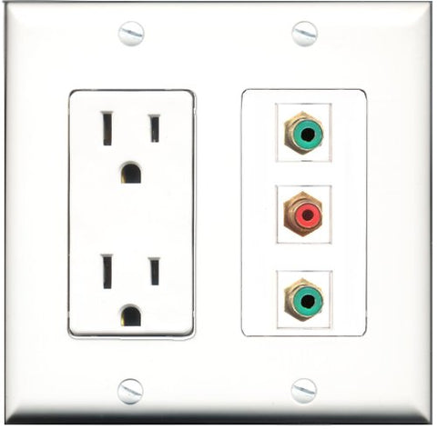 RiteAV - 15 Amp Power Outlet 1 Port RCA Red 2 Port RCA Green Decorative Wall Plate
