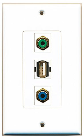 RiteAV - 1 Port RCA Green and 1 Port RCA Blue and 1 Port USB A-A Decorative Wall Plate Decorative