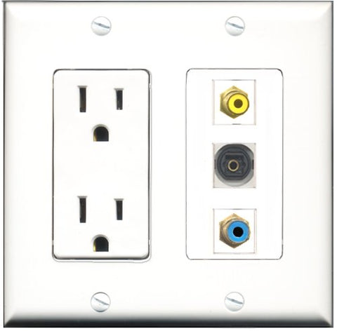RiteAV - 15 Amp Power Outlet 1 Port RCA Yellow 1 Port RCA Blue 1 Port Toslink Decorative Wall Plate