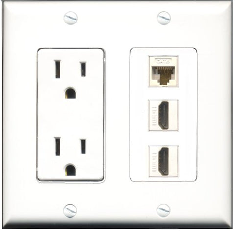 RiteAV - 15 Amp Power Outlet 2 Port HDMI 1 Port Cat6 Ethernet Ethernet White Decorative Wall Plate