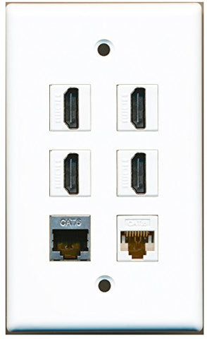 RiteAV - 4 HDMI 1 Port Shielded Cat6 Ethernet 1 Port Cat6 Ethernet White Wall Plate