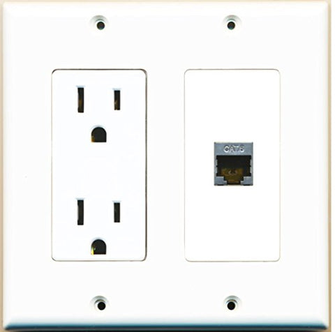RiteAV - 15 Amp Power Outlet and 1 Port Shielded Cat6 Ethernet Decorative Type Wall Plate - White