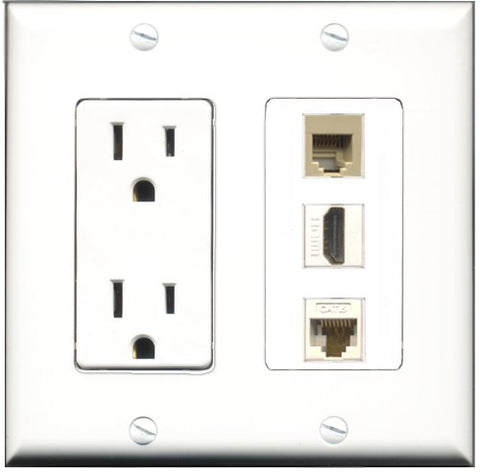 RiteAV - 15 Amp Power Outlet 1 Port HDMI 1 Port Phone Beige 1 Port Cat6 Ethernet Ethernet White Decorative Wall Plate