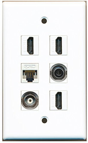 RiteAV - 3 HDMI 1 Port 3.5mm 1 Port BNC 1 Port Cat5e Ethernet White Wall Plate