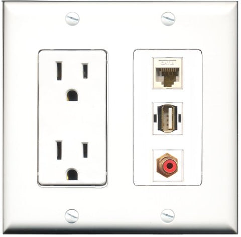 RiteAV - 15 Amp Power Outlet 1 Port RCA Red 1 Port USB A-A 1 Port Shielded Cat6 Ethernet Ethernet Decorative Wall Plate
