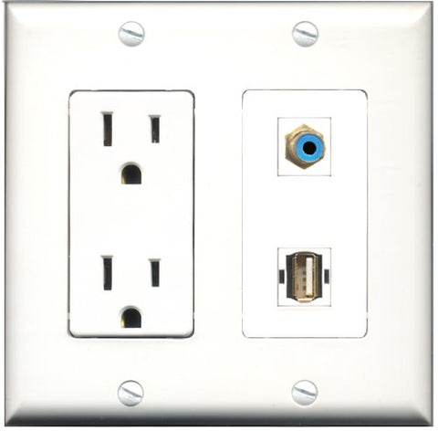 RiteAV - 15 Amp Power Outlet and 1 Port RCA Blue and 1 Port USB A-A Decorative Type Wall Plate White