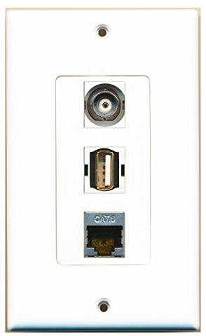 RiteAV - 1 Port USB A-A and 1 Port Shielded Cat6 Ethernet and 1 Port BNC Decorative Wall Plate Decorative