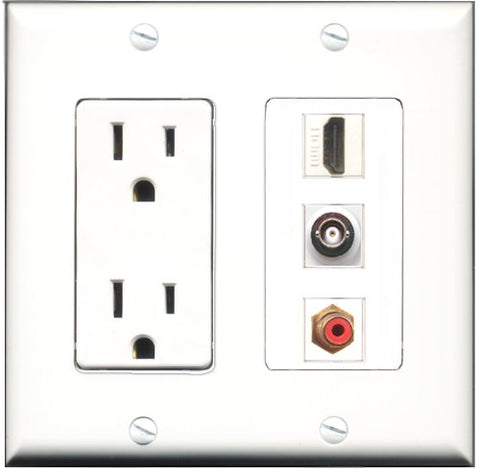 RiteAV - 15 Amp Power Outlet 1 Port HDMI 1 Port RCA Red 1 Port BNC Decorative Wall Plate