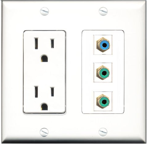 RiteAV - 15 Amp Power Outlet 2 Port RCA Green 1 Port RCA Blue Decorative Wall Plate