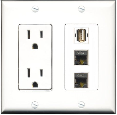 RiteAV - 15 Amp Power Outlet 1 Port USB A-A 2 Port Shielded Cat6 Ethernet Ethernet Decorative Wall Plate