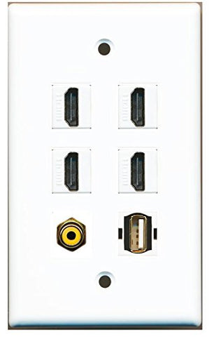 RiteAV - 4 HDMI and 1 - RCA Yellow and 1 - USB A-A Port Wall Plate White