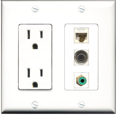 RiteAV - 15 Amp Power Outlet 1 Port RCA Green 1 Port 3.5mm 1 Port Cat6 Ethernet Ethernet White Decorative Wall Plate