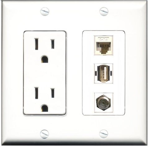 RiteAV - 15 Amp Power Outlet 1 Port Coax 1 Port USB A-A 1 Port Cat6 Ethernet Ethernet White Decorative Wall Plate
