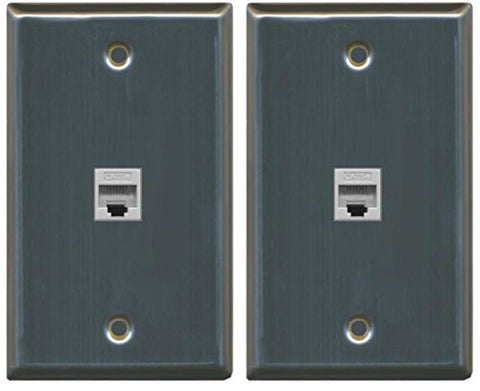 (2 Pack) RiteAV 1 Port Cat5e Rj45 Ethernet Wall Plate Stainless Steel
