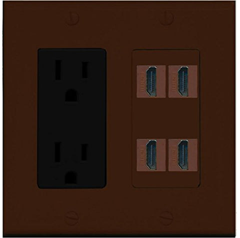 RiteAV Power Outlet 4 HDMI Wall Plate - Brown