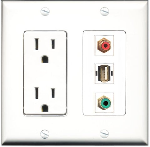 RiteAV - 15 Amp Power Outlet 1 Port RCA Red 1 Port RCA Green 1 Port USB A-A Decorative Wall Plate