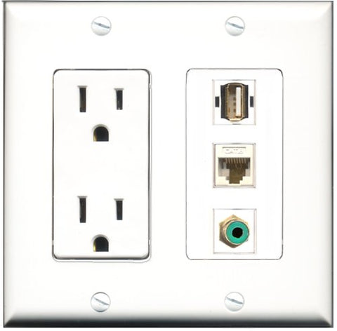 RiteAV - 15 Amp Power Outlet 1 Port RCA Green 1 Port USB A-A 1 Port Cat6 Ethernet Ethernet White Decorative Wall Plate