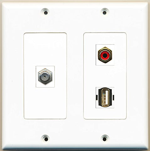 RiteAV - 1 Port RCA Red 1 Port Coax Cable TV- F-Type 1 Port USB A-A - 2 Gang Wall Plate