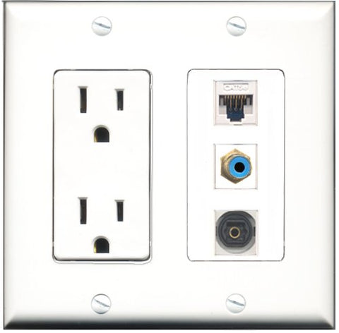 RiteAV - 15 Amp Power Outlet 1 Port RCA Blue 1 Port Toslink 1 Port Cat5e Ethernet White Decorative Wall Plate