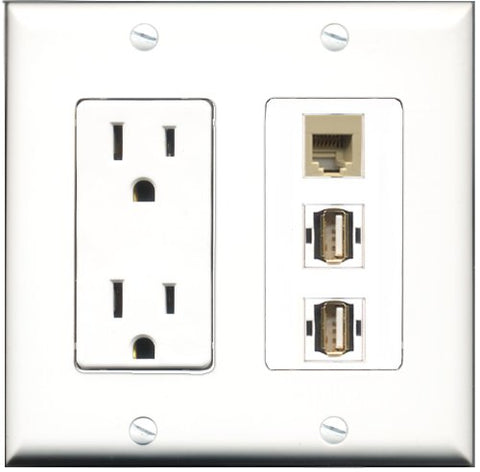 RiteAV - 15 Amp Power Outlet 2 Port USB A-A 1 Port Phone Beige Decorative Wall Plate