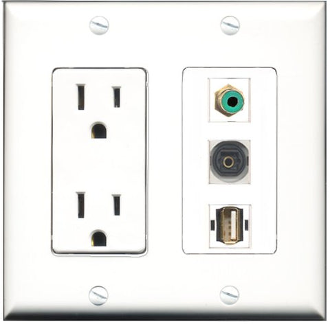 RiteAV - 15 Amp Power Outlet 1 Port RCA Green 1 Port USB A-A 1 Port Toslink Decorative Wall Plate