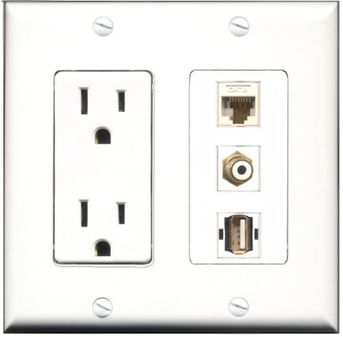 RiteAV - 15 Amp Power Outlet 1 Port RCA White 1 Port USB A-A 1 Port Cat6 Ethernet Ethernet White Decorative Wall Plate