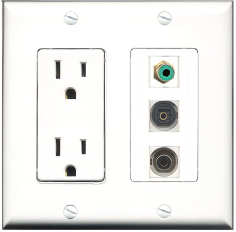 RiteAV - 15 Amp Power Outlet 1 Port RCA Green 1 Port Toslink 1 Port 3.5mm Decorative Wall Plate