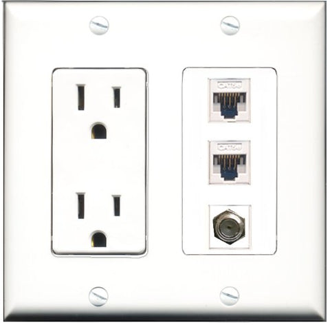 RiteAV - 15 Amp Power Outlet 1 Port Coax 2 Port Cat5e Ethernet White Decorative Wall Plate