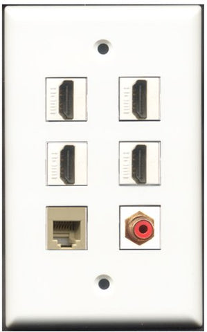 RiteAV - 4 Port HDMI 1 RCA Red 1 Phone RJ11 RJ12 Beige Wall Plate