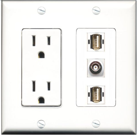 RiteAV - 15 Amp Power Outlet 2 Port USB A-A 1 Port BNC Decorative Wall Plate