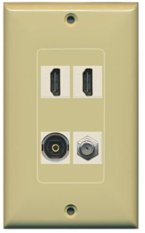 RiteAV - 2 Port HDMI 1 Port Coax Cable TV- F-Type 1 Port Toslink Wall Plate Decorative Wall Plate - Ivory