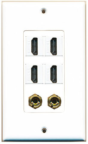 RiteAV - 4 Port HDMI 2 Port Banana Wall Plate White