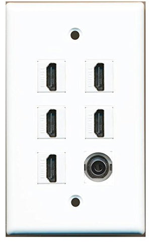 RiteAV - 5 x HDMI and 1 x 3.5mm Stereo Video Port Wall Plate White