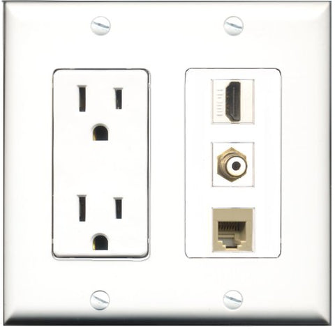 RiteAV - 15 Amp Power Outlet 1 Port HDMI 1 Port RCA White 1 Port Phone Beige Decorative Wall Plate