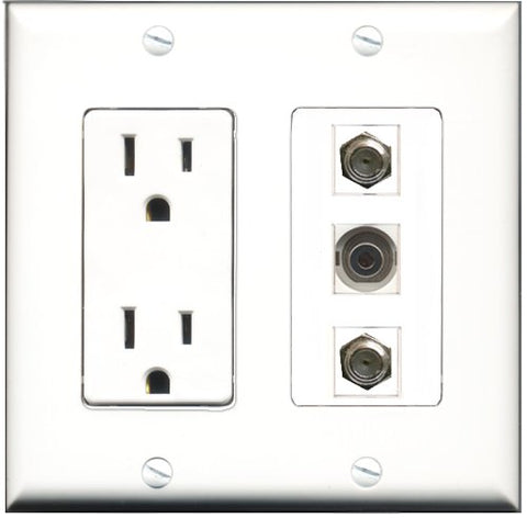 RiteAV - 15 Amp Power Outlet 2 Port Coax 1 Port 3.5mm Decorative Wall Plate