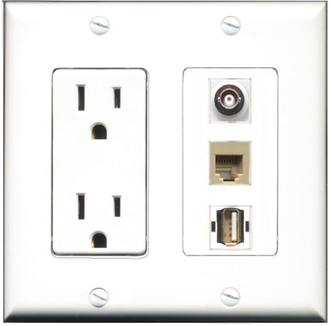 RiteAV - 15 Amp Power Outlet 1 Port USB A-A 1 Port Phone Beige 1 Port BNC Decorative Wall Plate
