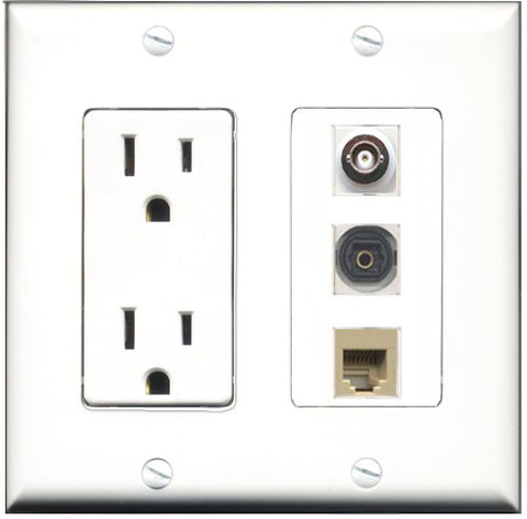 RiteAV - 15 Amp Power Outlet 1 Port Phone Beige 1 Port Toslink 1 Port BNC Decorative Wall Plate