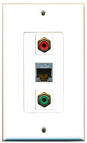 RiteAV - 1 Port RCA Red and 1 Port RCA Green and 1 Port Shielded Cat6 Ethernet Decorative Wall Plate Decorative