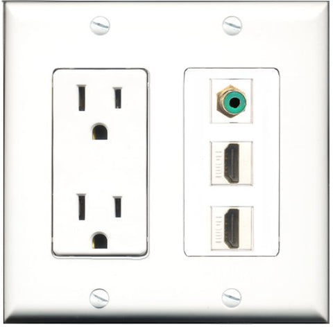 RiteAV - 15 Amp Power Outlet 2 Port HDMI 1 Port RCA Green Decorative Wall Plate