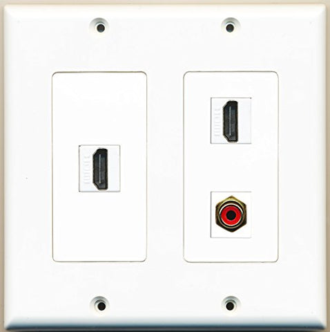 RiteAV - 2 Port HDMI 1 Port RCA Red - 2 Gang Wall Plate