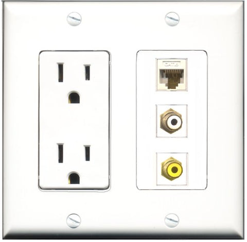 RiteAV - 15 Amp Power Outlet 1 Port RCA White 1 Port RCA Yellow 1 Port Cat6 Ethernet Ethernet White Decorative Wall Plate