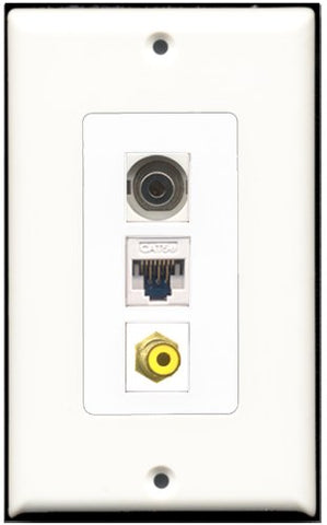 RiteAV - 1 Port RCA Yellow 1 3.5mm 1 Cat5e Ethernet White Wall Plate Decorative