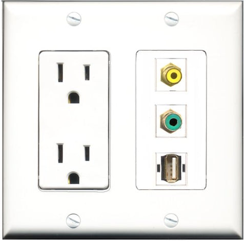 RiteAV - 15 Amp Power Outlet 1 Port RCA Yellow 1 Port RCA Green 1 Port USB A-A Decorative Wall Plate