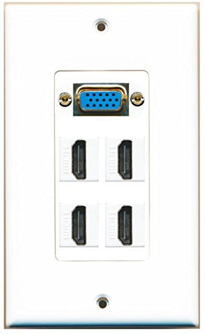 RiteAV (1 Gang Decorative) Svga 4 HDMI Wall Plate White