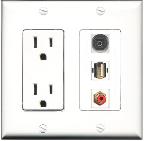 RiteAV - 15 Amp Power Outlet 1 Port RCA Red 1 Port USB A-A 1 Port Toslink Decorative Wall Plate