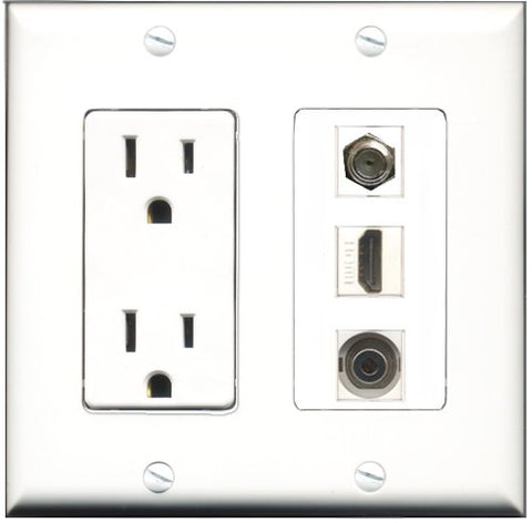 RiteAV - 15 Amp Power Outlet 1 Port HDMI 1 Port Coax 1 Port 3.5mm Decorative Wall Plate