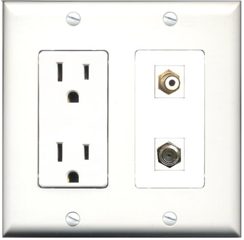 RiteAV - 15 Amp Power Outlet and 1 Port RCA White and 1 Port Coax Cable TV- F-Type Decorative Type Wall Plate White