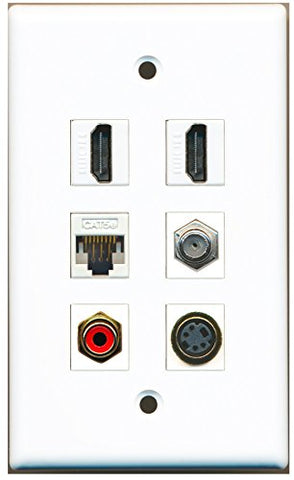 RiteAV - 2 HDMI 1 Port RCA Red 1 Port Coax Cable TV- F-Type 1 Port S-Video 1 Port Cat5e Ethernet White Wall Plate