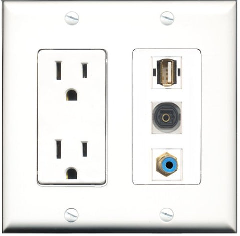 RiteAV - 15 Amp Power Outlet 1 Port RCA Blue 1 Port USB A-A 1 Port Toslink Decorative Wall Plate