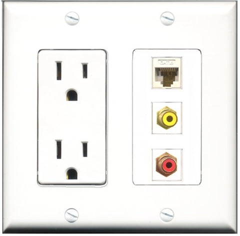 RiteAV - 15 Amp Power Outlet 1 Port RCA Red 1 Port RCA Yellow 1 Port Cat6 Ethernet Ethernet White Decorative Wall Plate